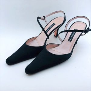 Albert Nipon Black Matt Satin Shoes